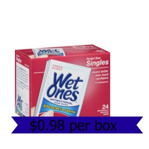Walmart: Wet Ones Pocket Size Singles $0.98