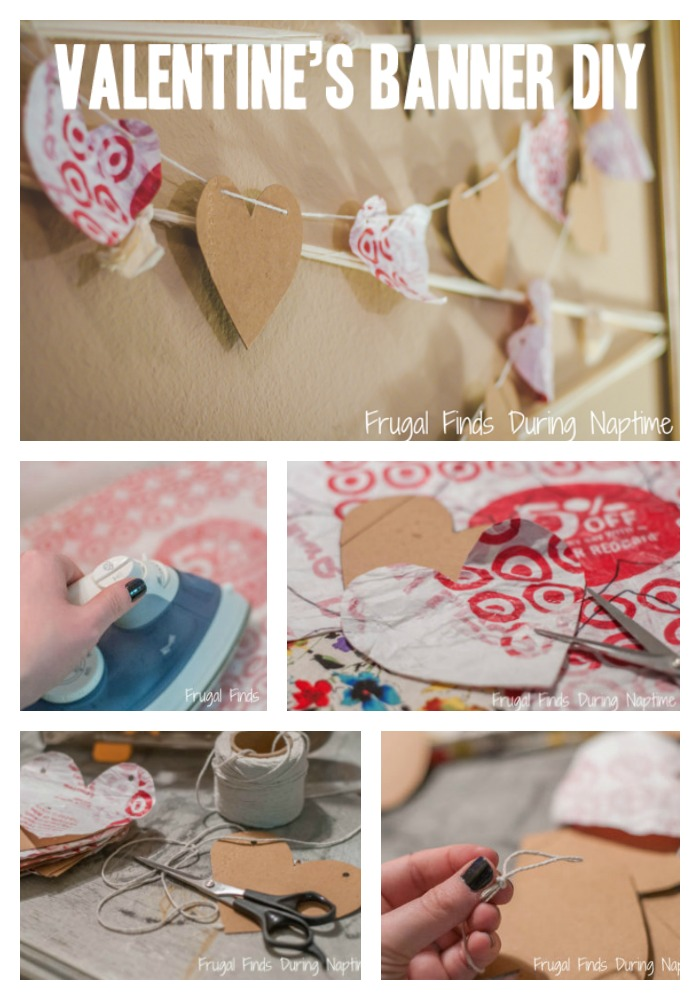 If you have Target Bags & Cereal Boxes in your house, you can do this easy craft to make a cute Valentine's Day Banner! #ValentinesDay #crafty #diy