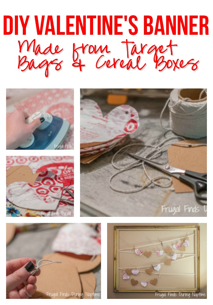 If you have Target Bags & Cereal Boxes in your house, you can do this easy craft to make a cute Valentine's Day Banner!