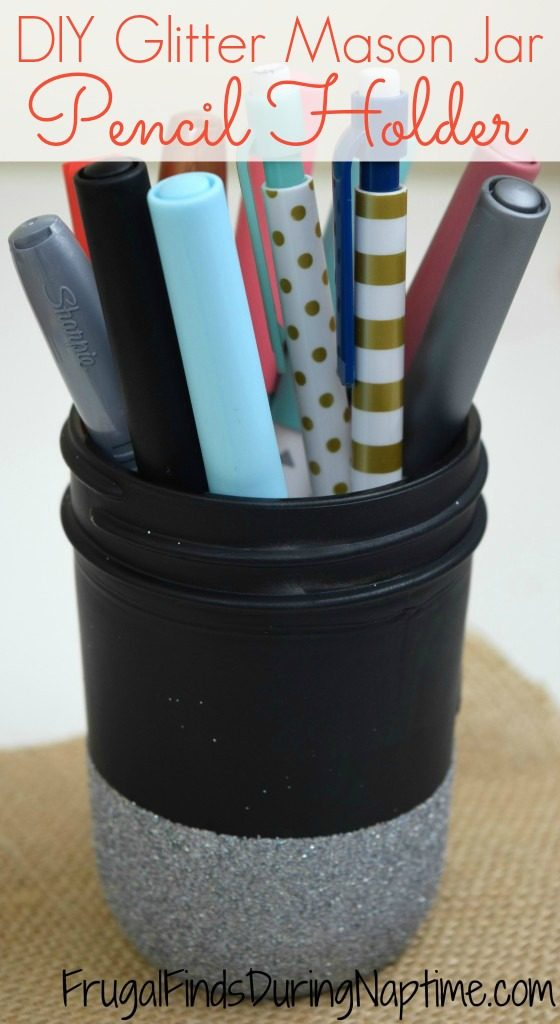 Repurpose that mason jar lying around your house. You can upcycle it into a pencil holder for a homework station, office, or classroom.