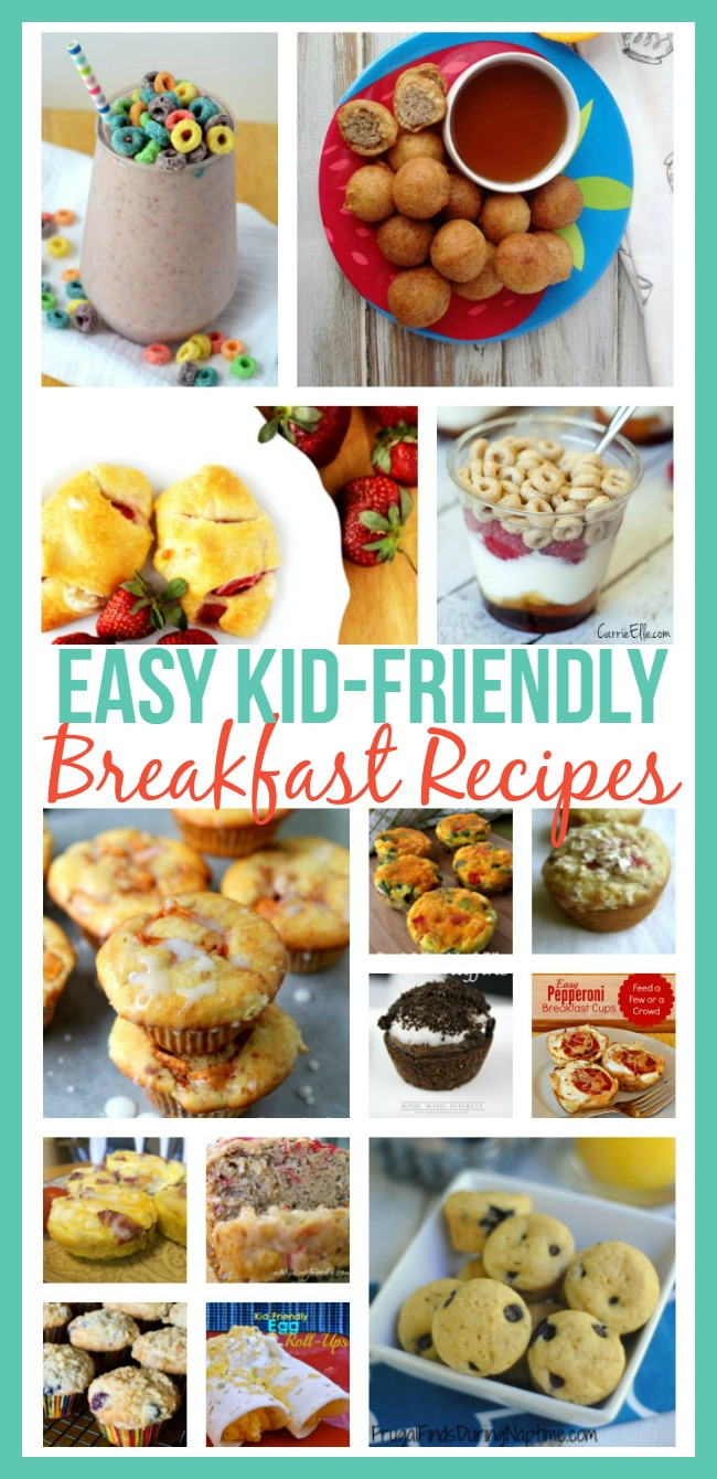 Here is a round up of easy, kid-friendly breakfast recipes to give your kids a good breakfast and make it out the door to school on time.