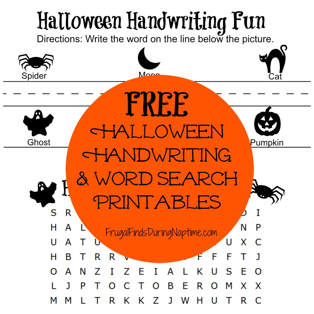 free halloween handwriting and word search printables frugal finds during naptime. Black Bedroom Furniture Sets. Home Design Ideas