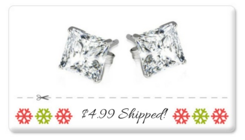 Snag sterling silver princess cut earrings for just $4.99 with FREE shipping! #FFDNTChristmas