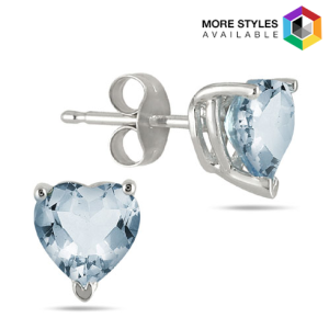 Sterling Silver Aquamarine Heart Earrings $6.29 (reg. $80) + FREE Shipping!