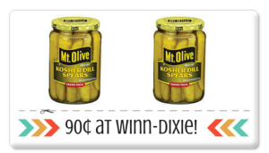 Mt. Olive Pickles 90¢ at Winn-Dixie! Print Now!