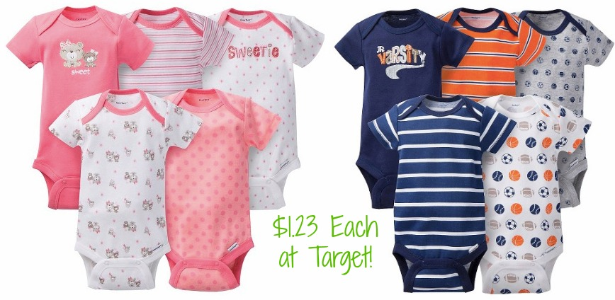 a0deee774 There is a new printable coupon to save $1.00 on Gerber Onesies. Starting  Sunday, February 14, Target will have select baby layette items buy one get  one ...