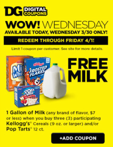 Dollar General: Free Milk, 3-30 through 4-1