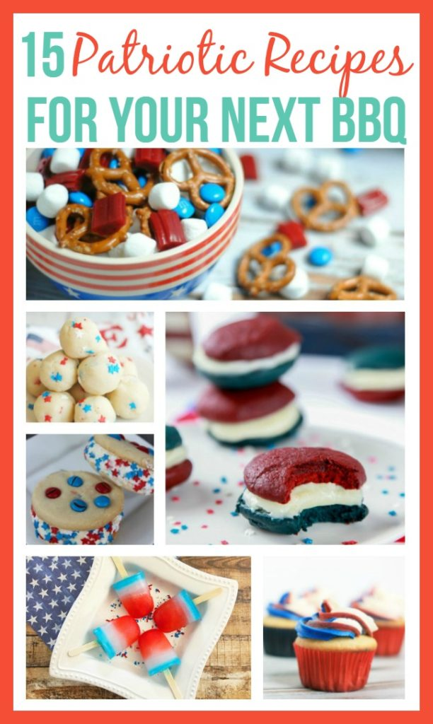 Looking for something yummy to take for the Memorial Day or 4th of July cookout? Check out these 15 patriotic recipes.