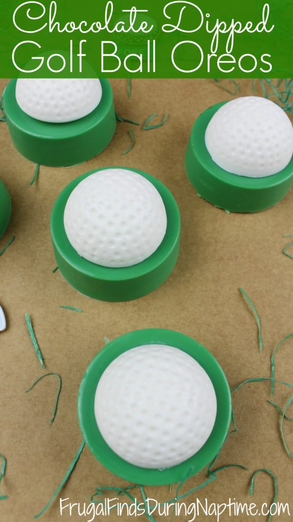 Try these delicious chocolate dipped golf ball Oreos for Father's Day! They are super easy, and a great way to celebrate Father's Day.