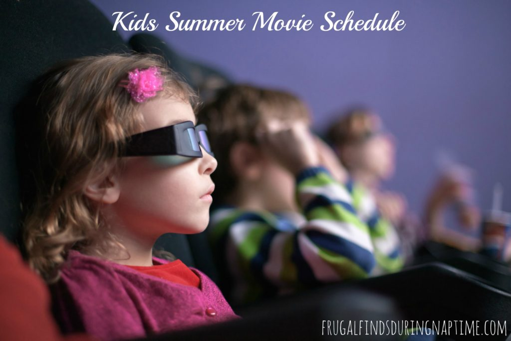 girl 3D wearing spectacles watches movie at movie theater with other children