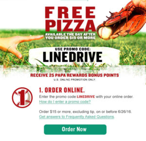 FREE Pizza from Papa John's {with $15 Order}!