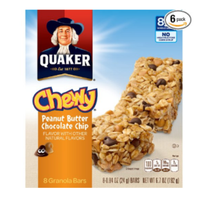 **TODAY ONLY!** Quaker Peanut Butter Chocolate Chip Chewy Granola Bars, 8-Count (Pack of 6) $.19 Each!!