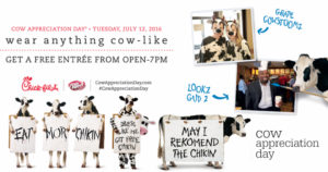 Chick-Fil-A Cow Appreciation Day: FREE Entree with ANY Cow Attire!