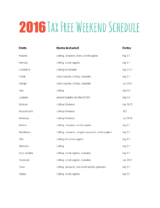Tax Free Weekend 2016