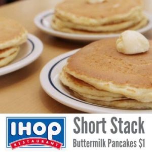 $1.00 Short Stack Buttermilk Pancakes at IHOP! Today Only!