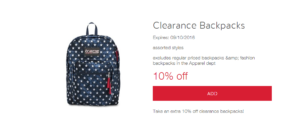 Clearance Backpacks (up to) 70% Off + Additional 10% Off!