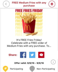 FREE Medium McDonald's French Fries (with purchase)!