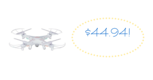*SUPER HOT CLEARANCE DEAL* Quadcopter Flying Drone ONLY $44.94 (reg. $119.95)!