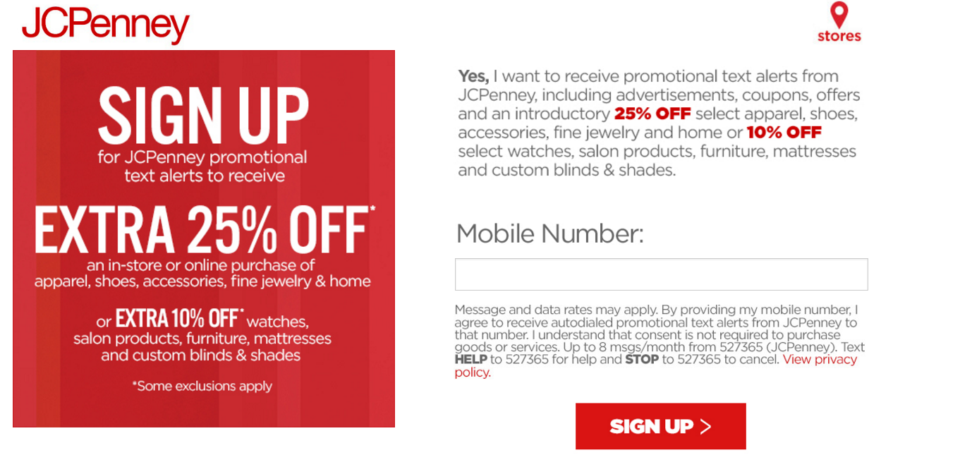 08eb678d6edf Sign up to receive text messages from JCPenney and receive a coupon to save  25% off in-store or online! I ve learned that getting text alerts from my  ...