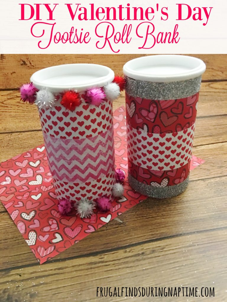 Transform a tootsie roll bank into this cute Valentine's Day bank!