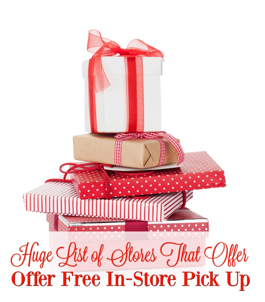 Don't fret about last minute Christmas Shopping! Check out these stores that offer FREE in store pick up! Shop from the comfort of your home and have someone else scour the store to find the items.