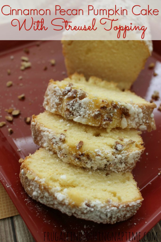 If you love pumpkin pie, cinnamon, and pecans, you will love this Cinnamon Pecan Pumpkin Cake with Streusel Topping!