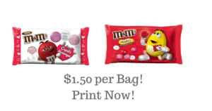 Valentine's Day M&M's $1.50 per Bag!