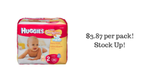 Huggies Diapers $3.87 per pack!