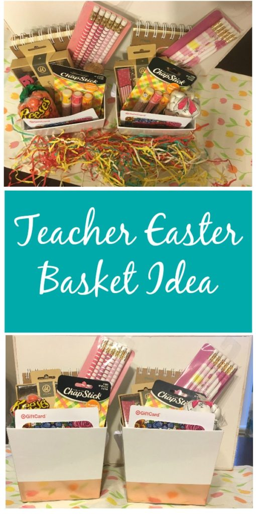 Don't forget your child's teacher this Easter! Check out this easy Teacher Easter Basket Idea for less than $20 that your child's teacher is sure to enjoy!