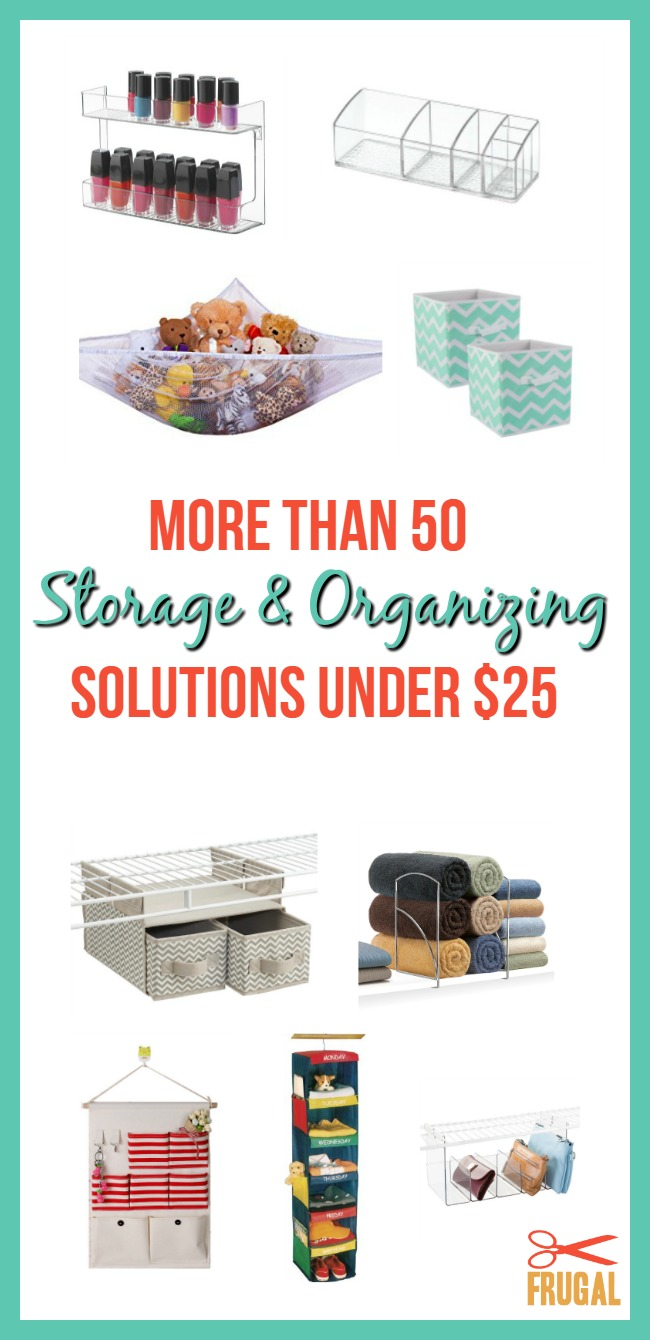 In the midst of Spring Cleaning and find yourself needing some organizing solutions? Here are more than 50 storage and organizing solutions under $25.