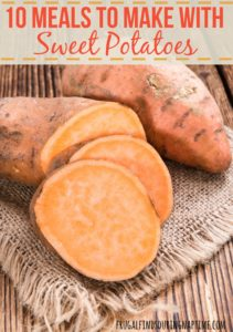 Sweet Potatoes are jam packed with vitamins and are good for you! If you're wanting to eat healthier, here are 10 meals to make with sweet potatoes.
