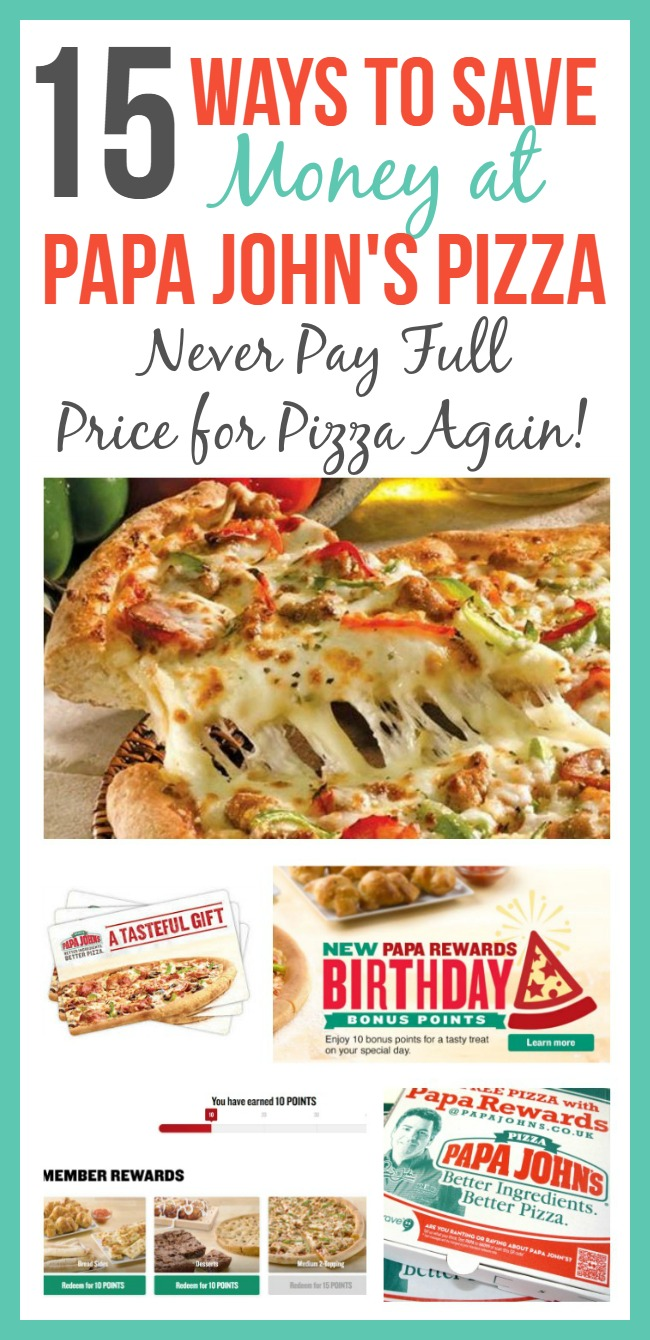 "Do you have a family pizza night? Before you hit ""order"" on that next pizza order, be sure to check out these ways to save money at Papa John's so you never have to pay full price for a pizza again!"