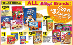 Double Stack on Kellogg's Cereals at Dollar General = Froot Loops $1.30 (reg. $3.00) per box!