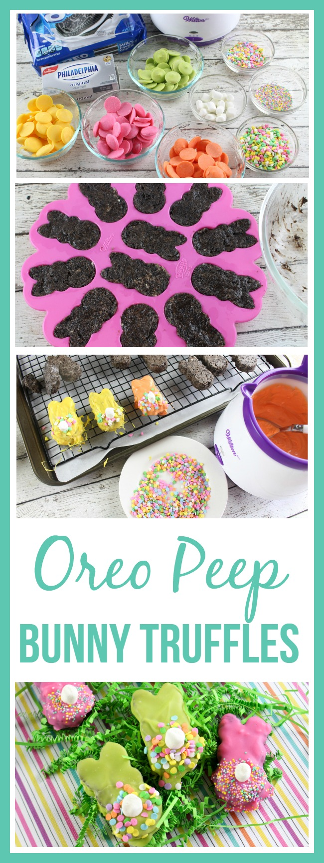 These Oreo Peep Bunny Truffles are delicious and super easy to make! These are sure to be a hit at an Easter recipe!