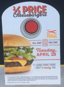 1/2 Price Cheeseburgers at Sonic on Tuesday, April 18!