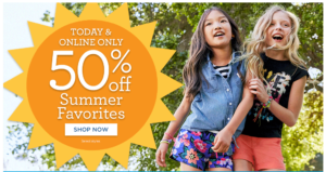 50% off Summer Favorites at Gymboree! Today Only!