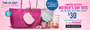 Bath & Body Works: Limited Edition Mother's Day Tote $30 (with $30 Purchase)