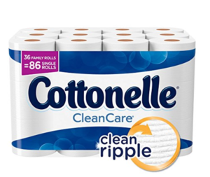 Prime Day Deal: Cottonelle CleanCare Family Roll Toilet Paper, Bath Tissue, 36 Rolls $.14 per single roll!! Go Now!!