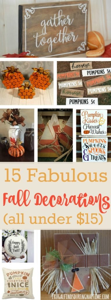 Decorating for Fall doesn't have to bust your budget. Check out these fabulous fall decorations all under $15!