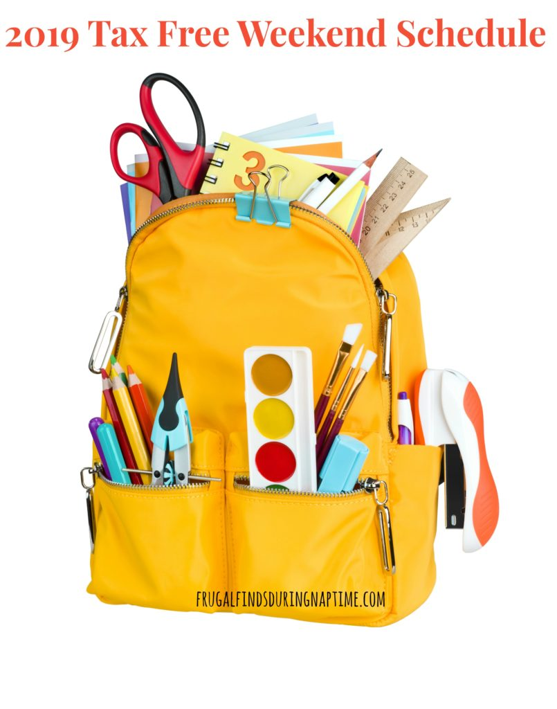 Save even more money on your Back to School Shopping by shopping during your state's tax free weekend. This post has the 2019 Tax Free Weekend Schedule.